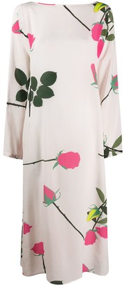 BERNADETTE Stem Rose Print Silk Dress