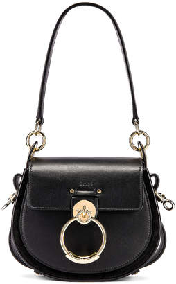 Chloé Small Tess Shiny Calfskin Shoulder Bag in Black | FWRD