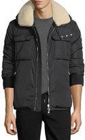 Moncler Darwin Shirt Jacket w/Shearling Collar