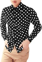 uxcell Allegra K Men Polka Dots Prints Slim Fit Button Down Dress Shirt L