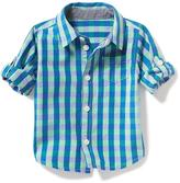 Old Navy Plaid Rolled-Sleeve Shirt for Baby