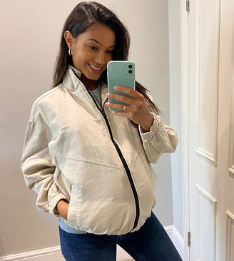 ASOS DESIGN Maternity linen oversized bomber jacket in cream