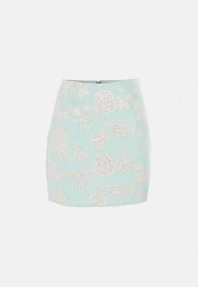 Missguided Mint Co Ord Brocade Floral Mini Skirt
