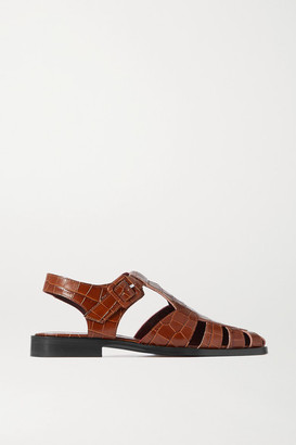 STAUD Brady Cutout Croc-effect Leather Loafers