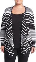 Neiman Marcus Striped Draped Cozy Cardigan, Plus Size