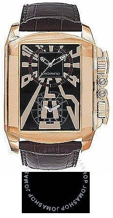 Chopard Dual Time Zone Black Dial Rose Gold Leather Men's Watch
