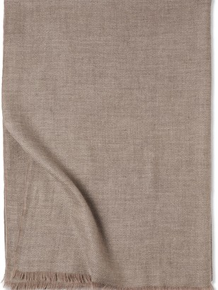 Oyuna Saan Finely Woven Cashmere Throw Soft Grey/Taupe