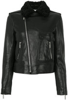 Saint Laurent shearling collar motorcycle jacket - women - Cotton/Lamb Skin/Cupro - 36