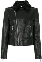 Saint Laurent shearling collar motorcycle jacket - women - Cotton/Lamb Skin/Cupro - 40