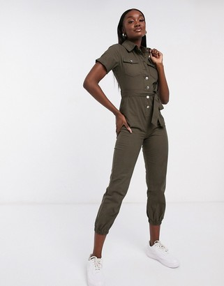 Parisian relaxed utility jumpsuit in khaki