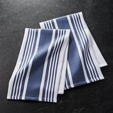 Crate & Barrel Set of 2 Cuisine Stripe Indigo Blue Dish Towels