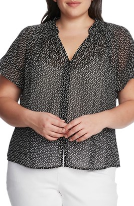Vince Camuto Ditsy Puff Sleeve Chiffon Blouse (Plus Size)