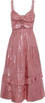 Rebecca Taylor Pleated Cutout Silk-blend Lame Midi Dress
