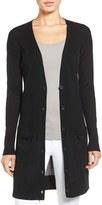 Petite Women's Halogen Rib Knit Wool Blend Cardigan