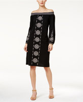 Style&Co. Style & Co Style & Co Petite Cotton Embroidered Off-The-Shoulder Dress, Created for Macy's