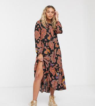 Monki paisley bird print tiered midi dress in black