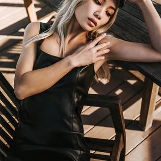 Steve Madden Rock City Vegan Leather Mini Dress Black