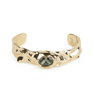 Alexis Bittar Single Stone Crumpled Cuff Bracelet