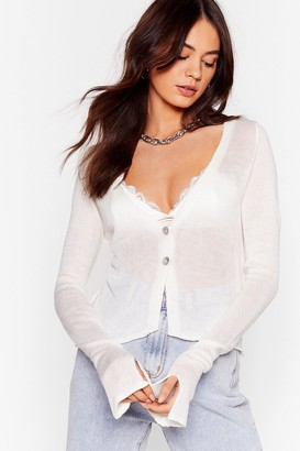 Nasty Gal Womens Right Sheer Waiting Button-Down Cardigan - White - 4