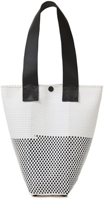 Truss Le Sac Leather-trimmed Woven Raffia-effect Shoulder Bag