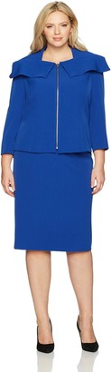 Tahari by Arthur S. Levine Women's Plus Size Crepe Skirt Suit with Shawl Collar