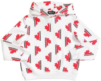 DSQUARED2 ALL OVER PRINT COTTON SWEATSHIRT HOODIE