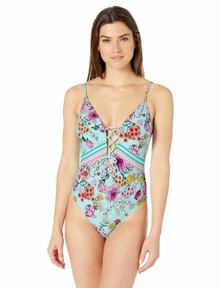 Kenneth Cole Reaction Women's Lace Front One Piece Swimsuit