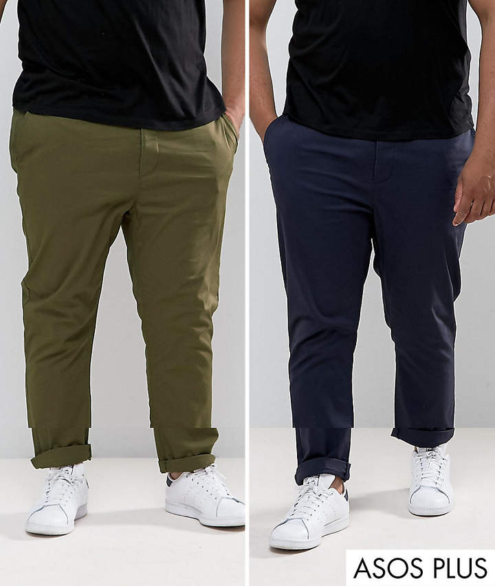 Asos Design Plus 2 Pack Slim Chinos In Khaki & Navy Save