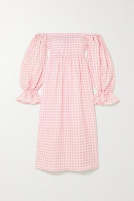 Sleeper Atlanta Off-the-shoulder Shirred Gingham Linen Midi Dress - Pink
