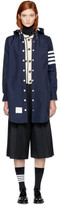Thom Browne Navy Nylon Tech Four Bar Lightweight Coat
