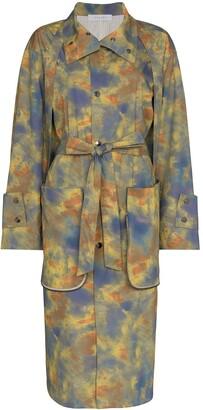 Delada Tie Dye Print Trench Coat