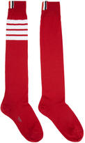 Thom Browne Red Ribbed Knee-High Four Bar Socks