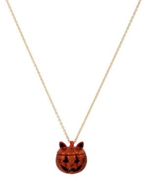 "Betsey Johnson Gold-Tone Pave Jack-o-Lantern Cat Locket Pendant Necklace, 30"" + 3"" extender"