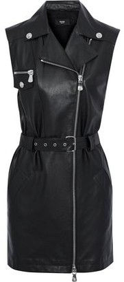 Versace Belted Leather And Crepe Mini Dress