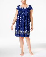 Charter Club Plus Size Lace-Trimmed Border-Print Nightgown, Only at Macy's