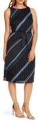 Vince Camuto Geo Diagonal Belted Midi Dress