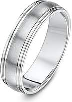 Theia Palladium 500 Matt Center Polished Groove 6mm Wedding Ring - Size V