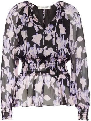Diane von Furstenberg Jacie Floral Print Silk Peplum Top