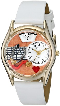 Whimsical Watches Nurse Orange White Leather and Goldtone Unisex Quartz Watch with White Dial Analogue Display and Multicolour Leather Strap C-0610033