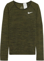 Nike Perforated Dri-fit Stretch-jersey Top - Army green