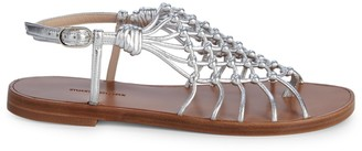 Stuart Weitzman Seaside Metallic-Leather Gladiator Sandals