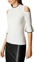 Karen Millen Ruffle Sleeve Jumper, White/Multi