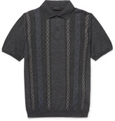 Prada Slim-Fit Jacquard-Knit Wool Polo Shirt