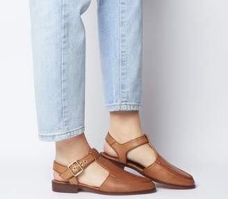 Office Filter Cut Out Flats Tan Leather