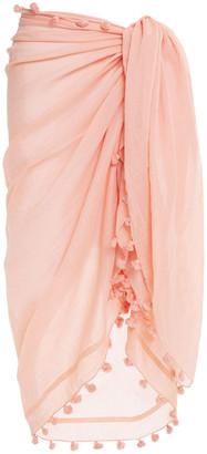 Melissa Odabash Pompom-trimmed Cotton And Silk-blend Voile Pareo