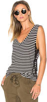 Pam & Gela Striped Lace Up Tank in Black & White. - size XS (also in )