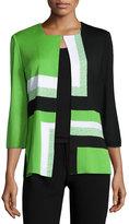 Ming Wang Geometric-Print Hook-Front Jacket, Grass/Black/White