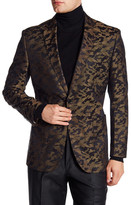 English Laundry Trim Fit Tan Printed Two Button Notch Lapel Sport Coat