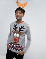 Pull&bear Christmas Jumper In Grey With Reindeer Print