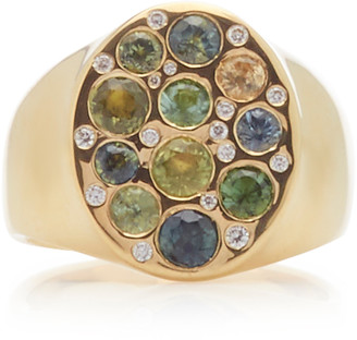 Fie Isolde Alfa Rainbow Sapphire and Diamond Signet Ring